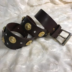 Express Brown 100% Leather Belt with Lion Heads